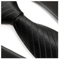 Paul Malone Krawatte schwarz uni Seide - schwarze Seidenkrawatte 475