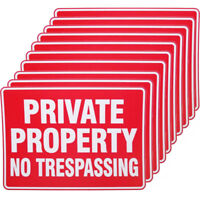 10 x PRIVATE PROPERTY SIGN 9 x 12 INCH SIZE DURABLE WEATHERPROOF Street Lot