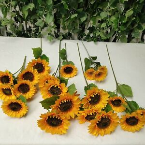 Artificial Sunflowers w/Long Stem-Fake Silk Flower for Home, Wedding Decorations