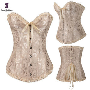 Womens Overbust Corset Apricot Floral Lace Up Waist Trainer Bustier Top Basque