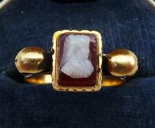 Stunning 18ct gold victorian memento mori skull and enamel cameo ring