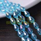 New 30pcs 12X8mm Faceted Teardrop Crystal Glass Spacer Loose Beads Lake Blue AB