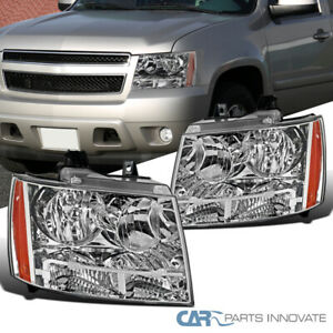 Crystal Clear Headlights For 07-14 Avalanche Tahoe Suburban LS LT+Amber Signal