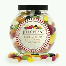 Personalised Jelly Beans Sweet Jar Birthday Christmas Valentine Gift