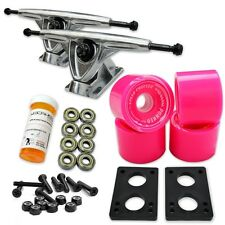 HD7 Longboard Combo set - Polished trucks (Solid Pink)