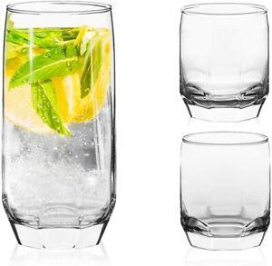 3 Different Sizes Glasses Set. Highball & Tumblers. (Set of 18) (385/310/215 ml)