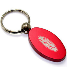 Red Aluminum Metal Oval Ford Logo Key Chain Fob Chrome Ring