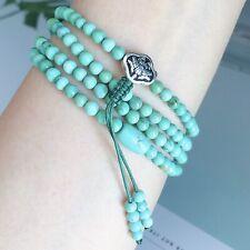 Natural Turquoise Gemstone beaded silver lotus buddhist bracelet Women Men Gift