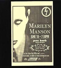 Original Vintage Concert Handbill Marilyn Manson Pine Know 1997 Mint