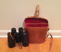 Vintage Binolux 7x50 Binoculars with Leather Carrying Case Japan