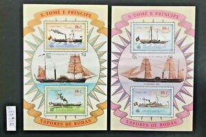 S.Tome E Principe Vapores De Rodas block 1989 №155-159