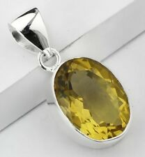 OVAL YELLOW CITRINE STONE 925 STERLING SILVER DROP NECKLACE PENDANT SIZE 1 3/8""