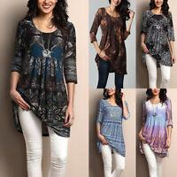 Women's Floral Print Loose Long Sleeve Blouse Dress Shirt Casual Tunic Tops HOT