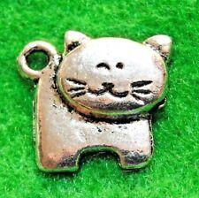 50Pcs. WHOLESALE Tibetan Silver Kitty CAT Charms Pendants Earring Drops Q1289