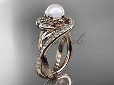 14k rose gold diamond pearl unique engagement ring AP222
