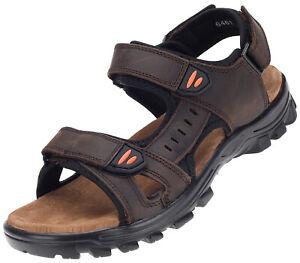 Herren Sandale Outdoor Trekking-Sandalen Leder Freizeit Schuhe Braun 17024