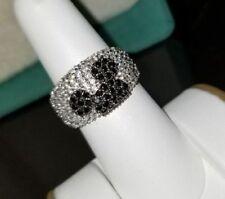 Black & White Diamonds Disney Cartoon Mickey Mouse Face Wedding Ring 925 Silver.