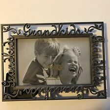 "Vintage Look Pewter 4""x6"" Filagree ""Grandkids"" Picture Frame Hang or Table Stand"