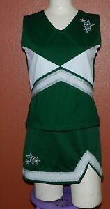 Women's Green Cheerleading Uniform Ion Cheer Top Adult Large Skirt Adult Medium
