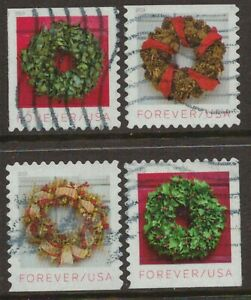 Scott #5424-27 Used Set of 4, Holiday Wreaths (Off Paper)