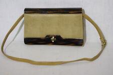 "Vintage Brown ""CROC"" Box Shoulder Bag W/""Tortoise"" Shell Decor, Lined B32"
