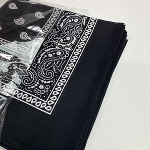 Bandana New 100% Cotton Paisley Print Scarf Handkerchief Black/wjite 10 Pack New