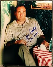 "JAMES GANDOLFINI VINTAGE SIGNED SOPRANOS 16x20 PHOTO - FULL AUTOGRAPH w/""TONY"""