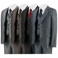 BOYS SHINY PARTY 5 PIECE SUIT JACKET TROUSERS SHIRT WAISTCOAT TIE 6MTH -14 YEARS