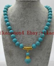 Fashion 10mm Natural Blue Turquoise Round Gemstone & Pendant Necklace 18'' AAA