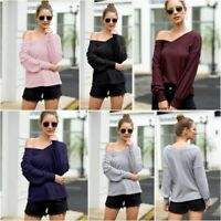 Jumper Casual Sweater Pullover T Shirt Knitwear Womens V Neck Loose Knit Shirt