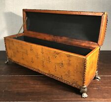 Embossed & Braided Leather Large Executive Storage Box With Brass Feet - 15""