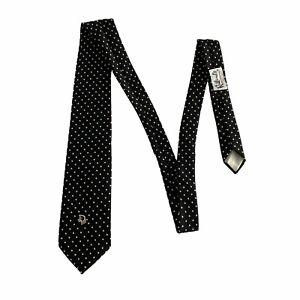Christian Dior Mens Black White Polka Dot Tie Polyester Silk Blend