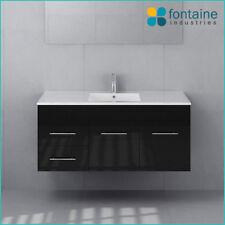 Bathroom Vanity Black Wall Hung Ceramic Basin 1200 NEW