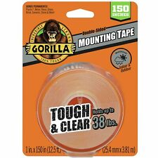New listing Gorilla 6036002 Tough & Clear Xl Mounting Tape, 150 inches, Clear New 38lbs