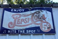 1930's Antique Pepsi-Cola Two Dot Tray Hits The Spot Rare Double Sided Porcelain