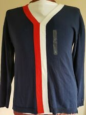 TOMMY HILFIGER Womens V-Neck Jumper Sweater Large Navy Blue Red White Pullover