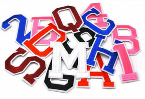 LARGE Colour Letter / Number Patch Patches Iron on /Sew on Alphabet Embroidery