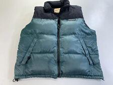 Vintage Woolrich Mens Teal Black Goose Down Puffer Vest Large Full Zip
