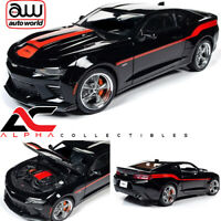 AUTOWORLD AW257 1:18 2018 CHEVROLET CAMARO YENKO BLACK W/ RED STRIPES LE 252