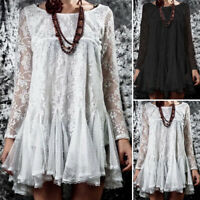 Damenmode Rundhals Langarm Sheer Tunika Bluse Kleid Strand Crochet Spitze Tops