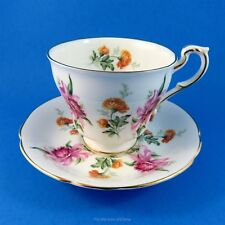 Pretty Pink Orchids and Chrysanthemums Paragon Tea Cup and Saucer Set