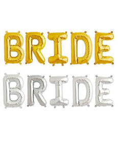 """16"""" 40 Silver Gold Letter Mylar Balloons Bride To Be Wedding Bridal Shower Party"""