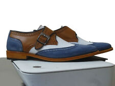 Handmade Men Brown Blue white Dress Shoes Leather Monk Office Formal Brogue shoe