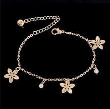 Fully Adjustable Ankle Bracelet Gold Flower & Crystal