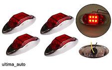 4x 6 LED ROJO Lateral Transparente Cromo Luces de marcaje Lámparas Remolque