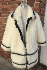 H&M Faux Fur Coat Sz 8 Autumn Collection 2013 EUR 38 Cruella de Ville White blk