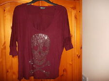Unusual plum purple loose fitting top, diamante skull, INTERNACIONALE, 8-10 NEW