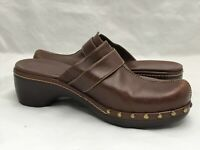 ECCO Brown Leather Shoes Women's Size EUR 39 US 7 Mule Clog Bronze Stud Trims