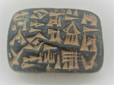 ANCIENT NEAR EASTERN BLACK STONE TABLET WITH EARLY FORM OF WRITING
