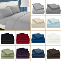 Luxury 4 PCs Sheet Set 100% Egyptian Cotton 600 Thread Count 18'' Deep Pocket AS